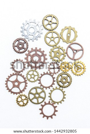 Group of gears on a light background. The background of the gears. #1442932805