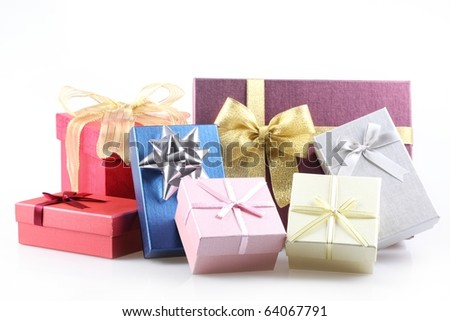 Group of gift boxes on white background.