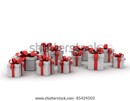 Group of gift boxes with red ribbon