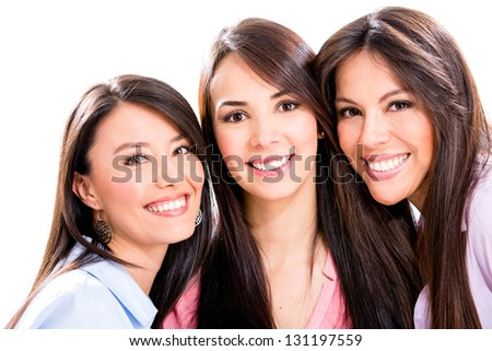 Group of girl friends - isolated over a white background