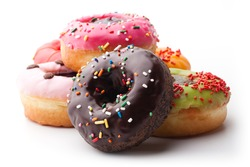 Group of glazed donuts on white background