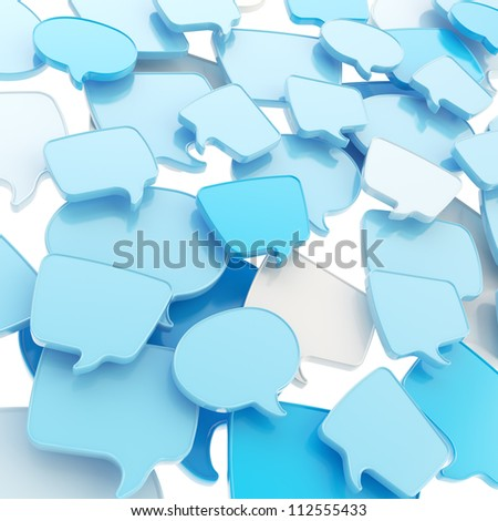 Group of glossy speech blue text bubbles randomly placed as abstract copyspace business communication background