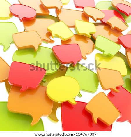 Group of glossy speech text bubbles randomly placed as abstract copyspace business communication background