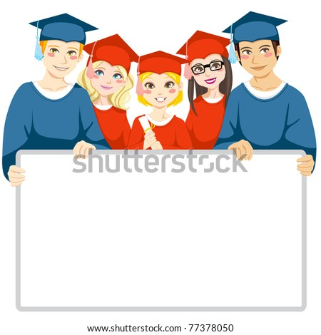 Group of graduated men and women holding a white board with copy space for text