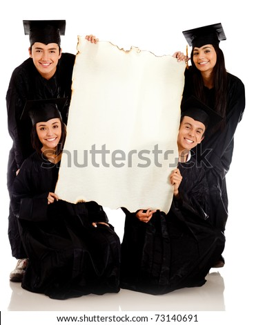 Group of graduates holding a banner - isolated over white