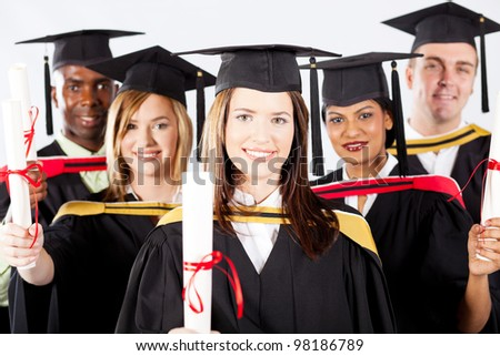 group of graduates in graduation gown and cap