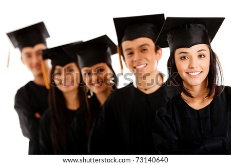 Group of graduates wearing a gown and mortarboard - isolated over white