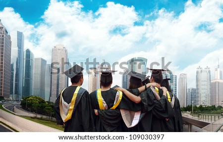 Group of graduates will face the modern city - stock photo