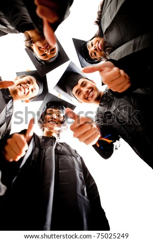 Group of graduates with thumbs up - isolated over white