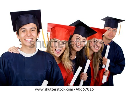 group of graduation students looking happy isolated on white