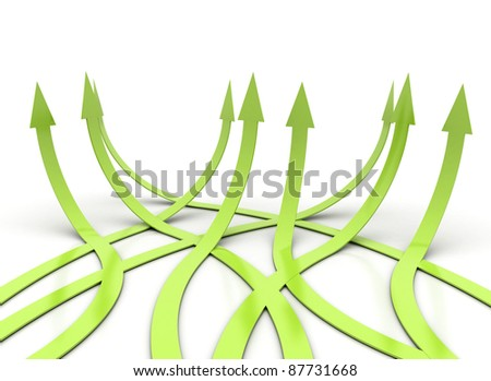 Group of green arrows