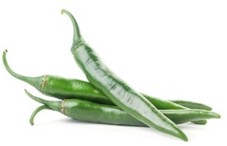 Group of green hot chili peppers on a white background. Isolated