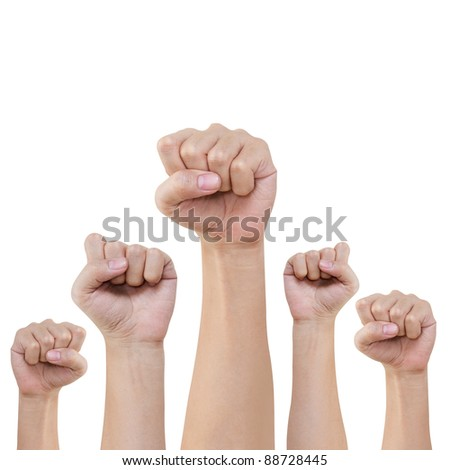 Group of hand and fist lift up high on white background - stock photo