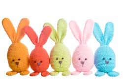 group of handmade stuffed animal easter bunnys