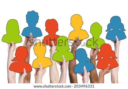 Group of Hands Holding Colorful Characters