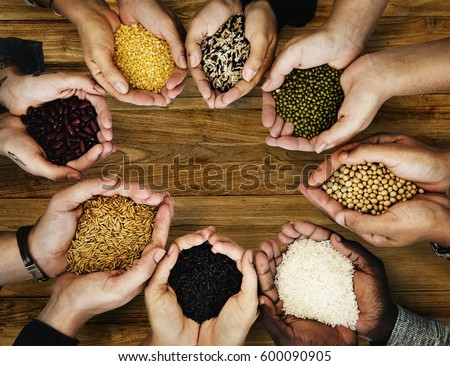 Group of hands holding healthy food agricultural product
