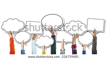 Group of Hands Holding Speech Bubbles #226759681
