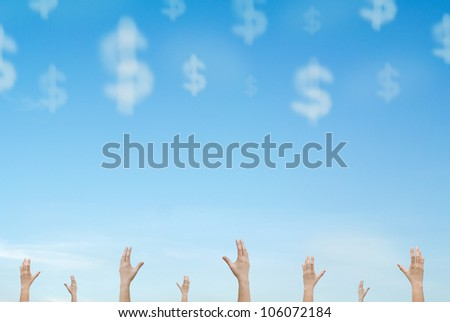 group of hands reaching out cloud money falling from sky