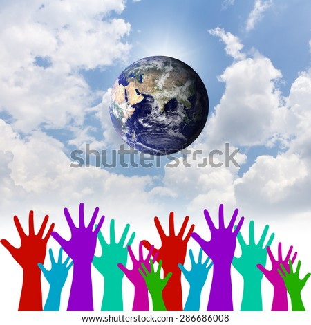 Group of Hands United as One for Global Environmental Preservation.Environment concept. Elements of this image furnished by NASA.