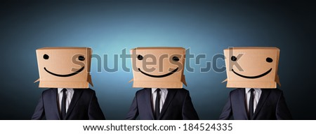 Group of handsome people gesturing with sketched smiley faces on box #184524335