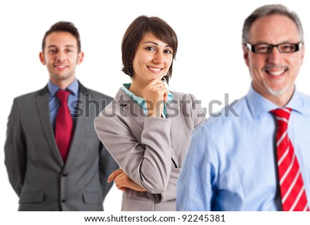Group of happy business people. Focus on the woman.
