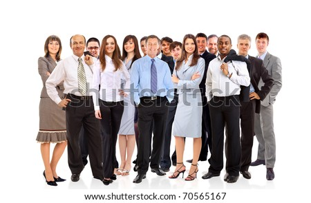 Group of happy business people,isolated