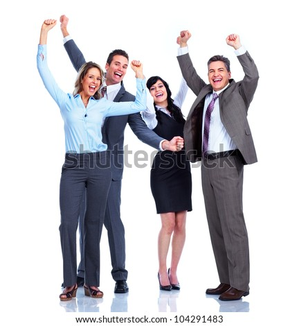 Group of happy business people. Success. Businessman. Isolated on white background.