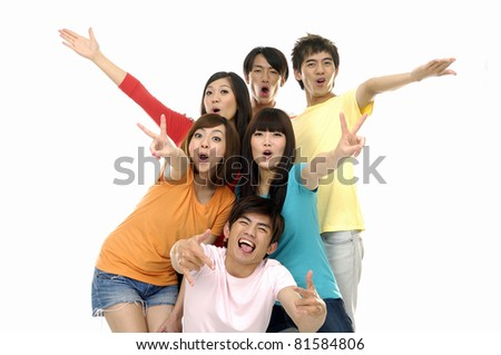 Group of happy casual friends with arms up