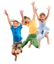 Group of happy cheerful sportive barefoot children kids boy and girls jumping and dancing. Kids group isolated over white background Happiness dance action activity active sport lifestyle concept.