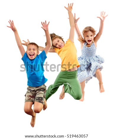 Group of happy cheerful sportive barefoot children kids boy and girls jumping and dancing. Kids group isolated over white background Happiness dance action activity active sport lifestyle concept. #519463057