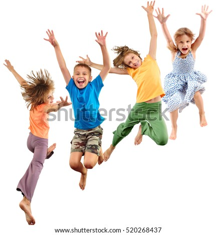 Group of happy cheerful sportive barefoot children kids jumping and dancing. Kids group portrait isolated over white background. Childhood, freedom, happiness, dance, movement, action, sport concept.