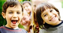 Group of happy children outdoor