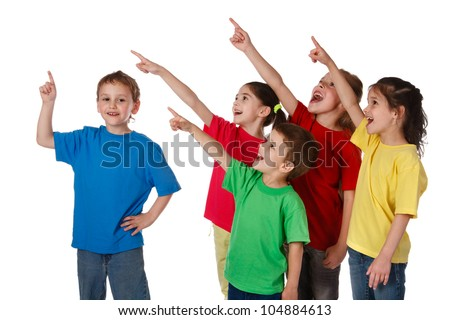Group of happy children with pointing up sign, isolated on white