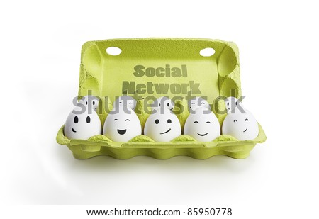 Group of happy eggs with smiling faces representing a social network. Ten white eggs in a carton box. Isolated on a white background