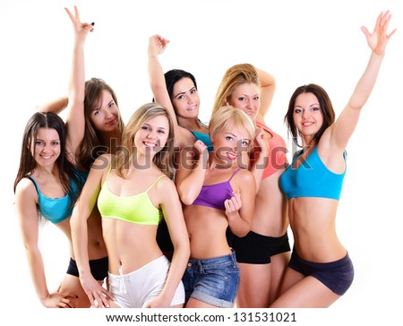 group of happy fitness young women have fun and smiling, over white background