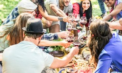 Group of happy friends cheering with red wine at picnic party in nature outdoor - Young people eating, laughing and having fun together - Focus on bottom guy hand glass - Youth and summer concept
