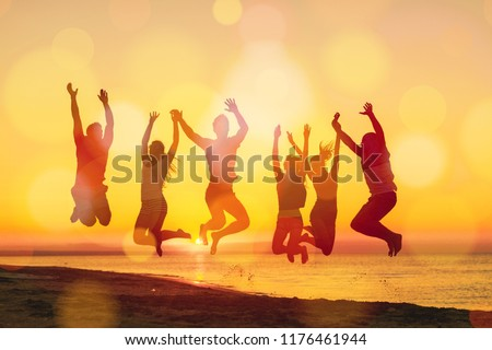 Group of happy friends having fun together #1176461944