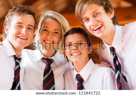 group of happy high school students closeup