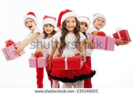 Shutterstock Group of happy kids in Christmas hat with presents. Isolated on white background. Holidays, christmas, new year, x-mas concept.