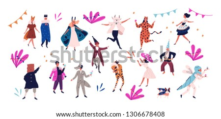 Group of happy men and women dressed in festive costumes for masquerade, carnival, party, holiday celebration isolated on white background. Colorful illustration in flat cartoon style