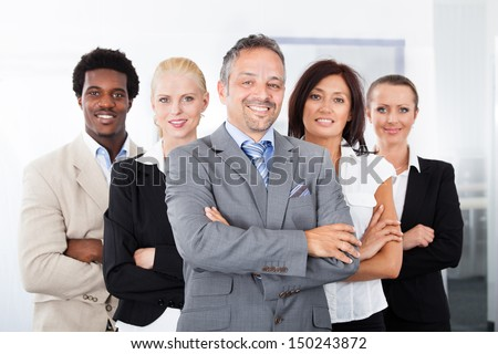 Group Of Happy Multiracial Businesspeople Standing In A Row #150243872