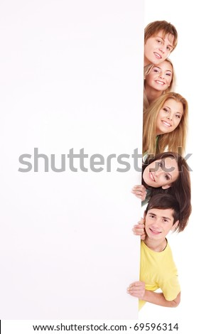 Group of happy people holding banner. Isolated.