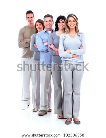 Group of happy people. Isolated over white background
