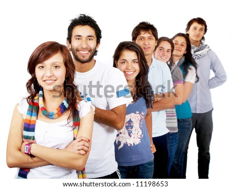 group of happy people smiling isolated over a white background