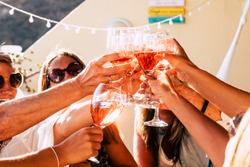 Group of happy people toasting  together with cups of red wine under the sun light in a sunny day - outdoor leisure activity for women having fun with drinks - wine and winery concept