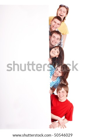 Group of happy  people with banner.Isolated.