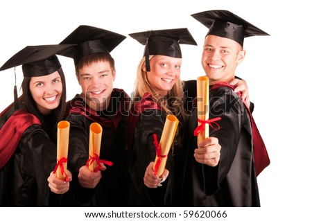 Group of happy students