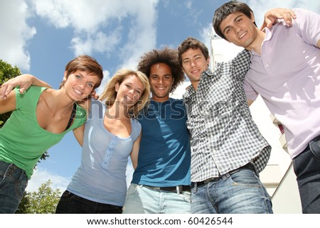 Group of happy students during summer break