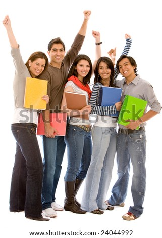 Group of happy students isolated over a white background