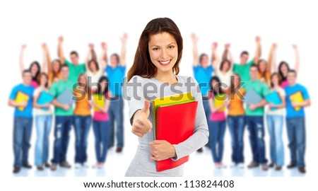 Group of happy students Isolated over white background